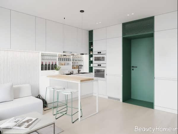 طراحی داخلی منزل کوچک با رنگ سفید