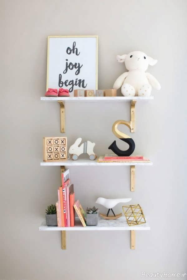 شلف دیواری ساده برای اتاق کودک
