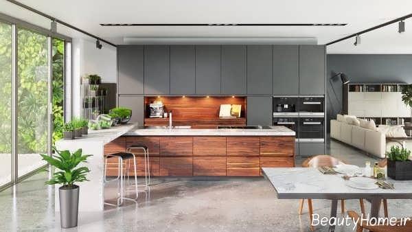 مدل کابینت دو رنگ برای آشپزخانه کوچک