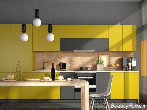 کابینت زرد و طوسی برای آشپزخانه