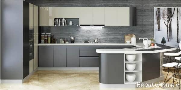 کابینت دو رنگ برای آشپزخانه کوچک