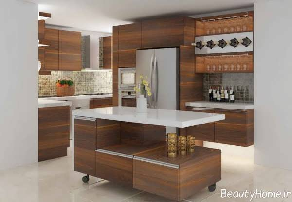 کابینت طرح چوب برای آشپزخانه