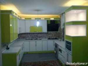مدل کابینت سفید و سبز برای آشپزخانه