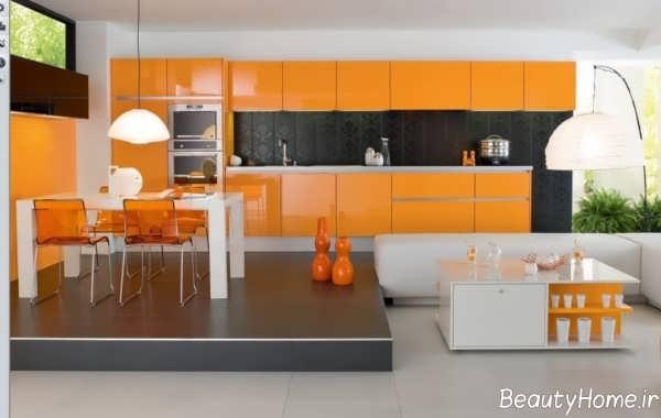 کابینت نارنجی برای آشپزخانه کوچک