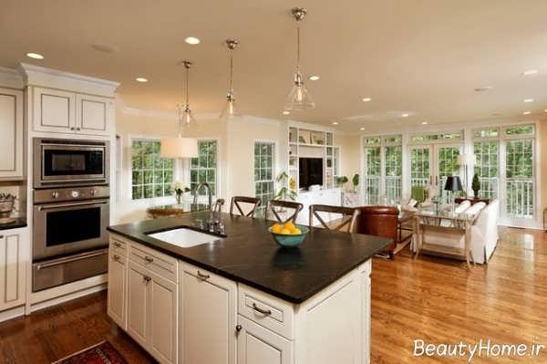 طراحی نورپردازی اپن آشپزخانه با ایده های جالب