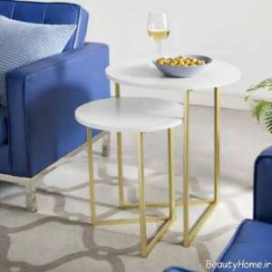 میز استیل طلایی