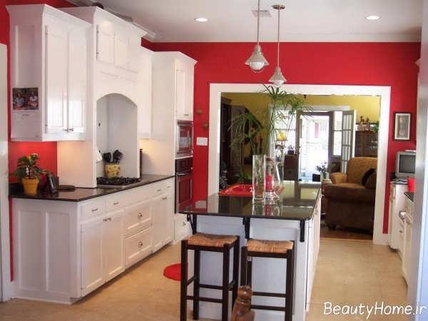 طراحی داخلی آشپزخانه با رنگ استخوانی