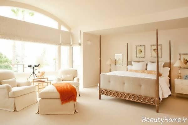 دکوراسیون شیک اتاق خواب با رنگ استخوانی