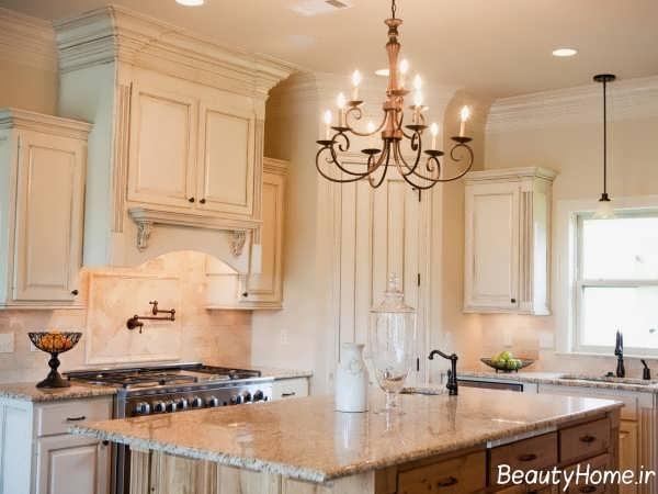 طراحی آشپزخانه با رنگ استخوانی