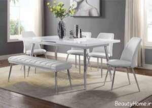 طرح میز ناهار خوری سفید و زیبا