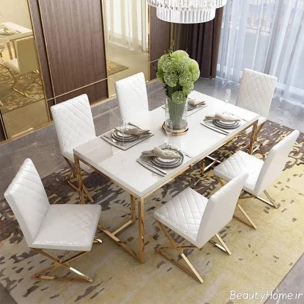 میز ناهار خوری سفید و کلاسیک