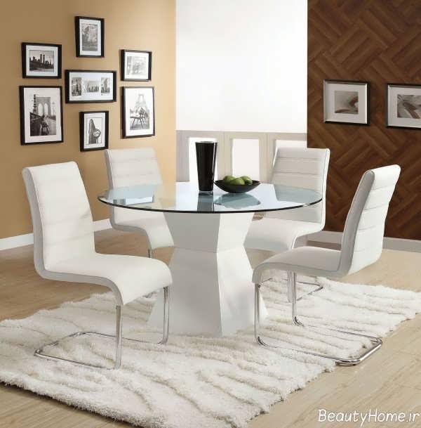 میز ناهار خوری سفید مدرن