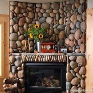 تزیین دیوار پشت شومینه با سنگ