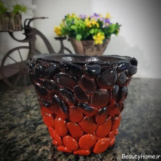 تزیین گلدان با سنگ