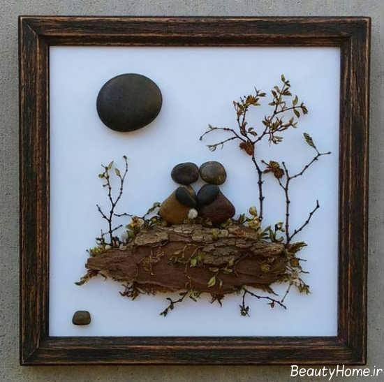 تزیین تابلو با سنگ