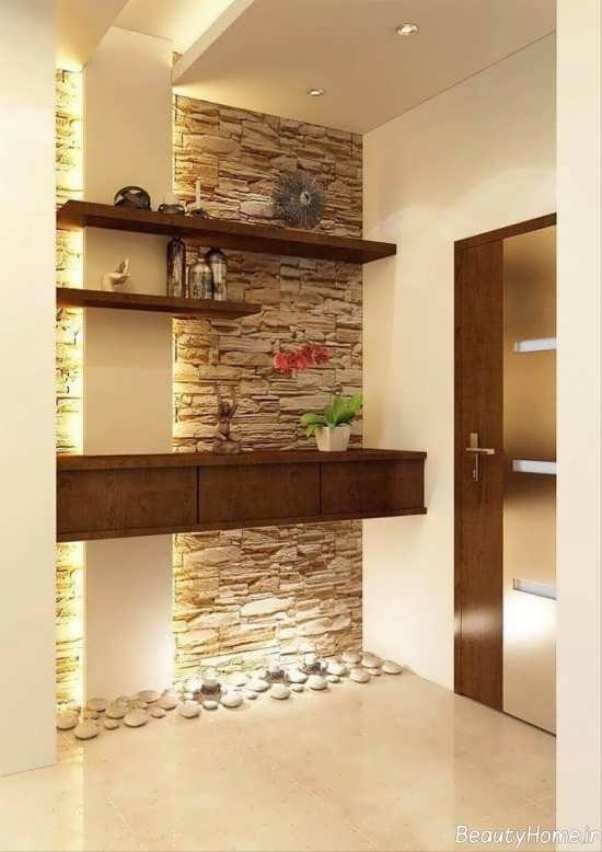 تزیین دیوار با سنگ