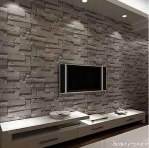 تزیین دیوار پشت تلویزیون با سنگ