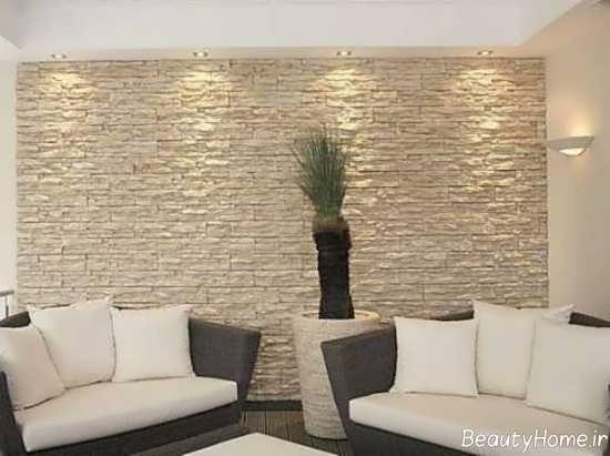 تزیین دیوار پذیرایی با سنگ