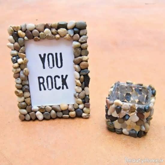 تزیین قاب عکس با سنگ