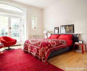 دکوراسیون داخلی اتاق خواب با قرمز