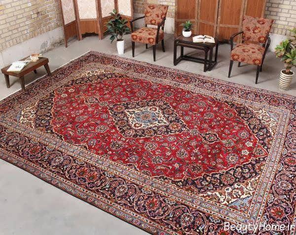 دیزاین پذیرایی با فرش قرمز