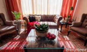 دیزاین داخلی منزل با فرش قرمز