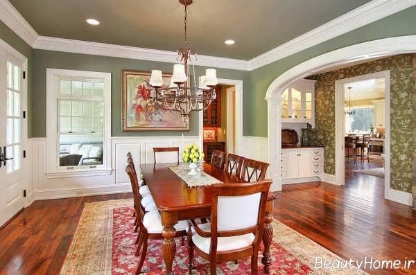 دیزاین داخلی آشپزخانه با فرش قرمز