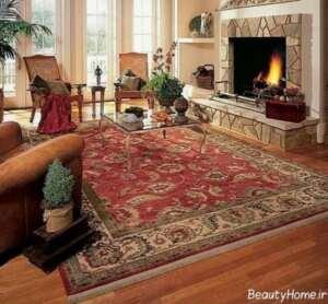 طراحی دکوراسیون پذیرایی با فرش قرمز