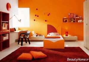 دیزاین داخلی اتاق خواب با فرش قرمز
