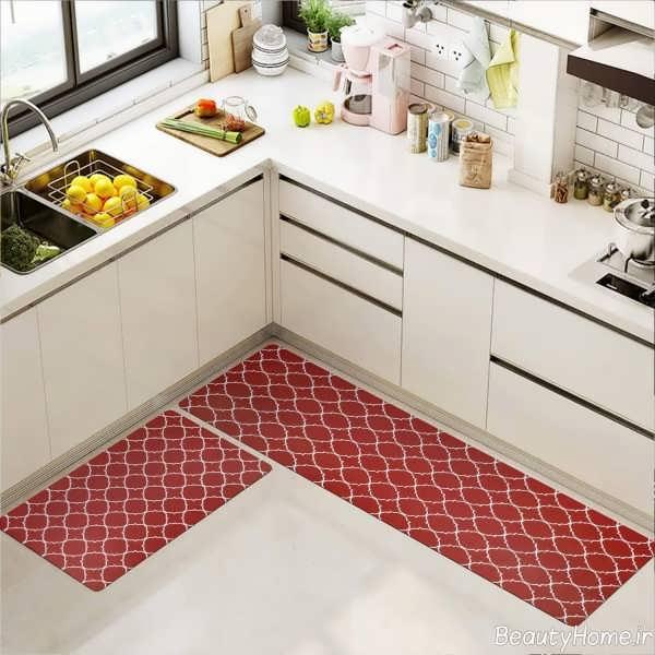 دکوراسیون آشپزخانه با فرش قرمز