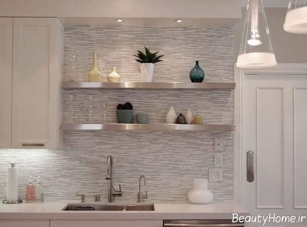 مدل شلف دیواری کرم آشپزخانه