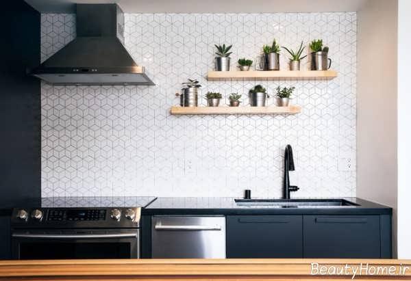 مدل شلف دیواری ساده برای آشپزخانه