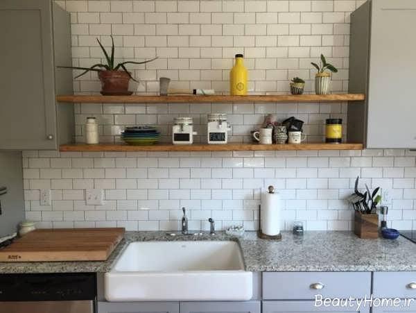 مدل شلف دیواری ساده آشپزخانه
