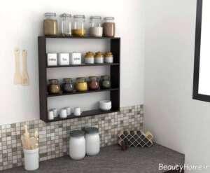 مدل شلف دیواری زیبا برای آشپزخانه