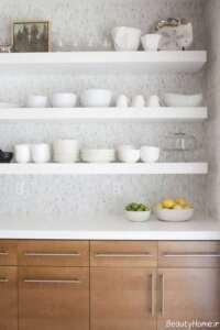 مدل شلف دیواری سفید آشپزخانه