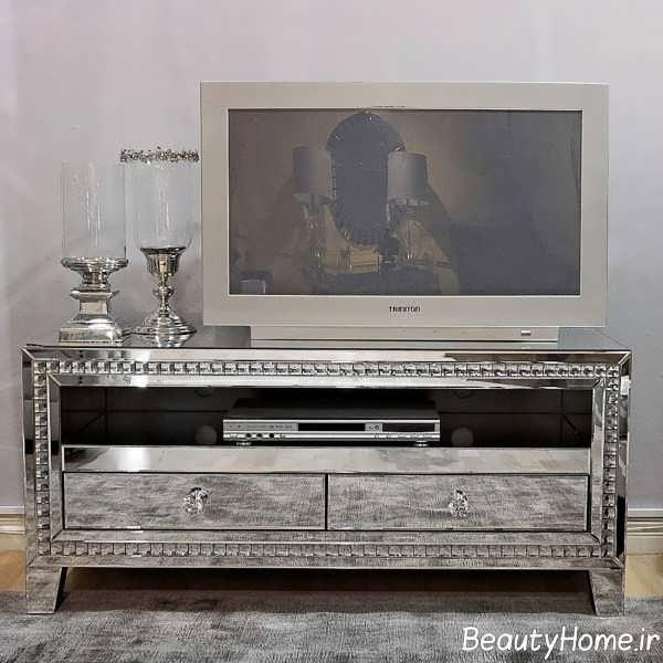طرح میز تلویزیون آینه کاری شده