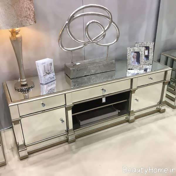 مدل میز تلویزیون آینه کاری شده شیک