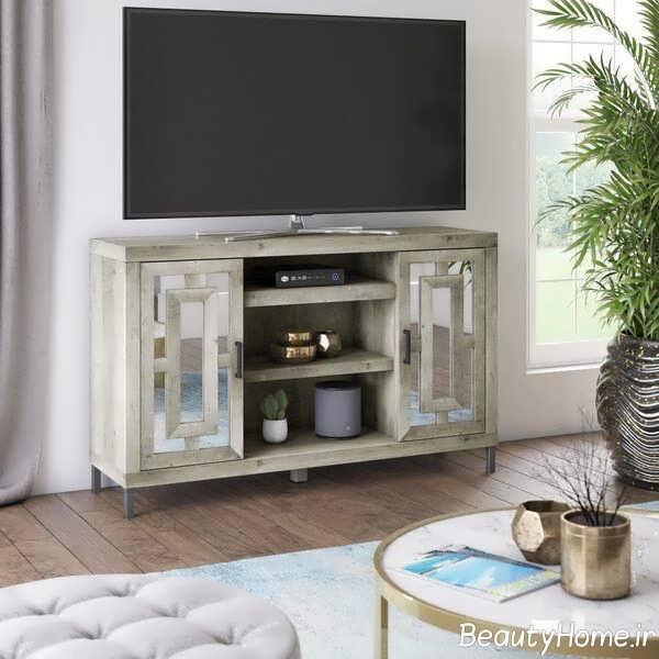 مدل میز تلویزیون آینه ای شیک