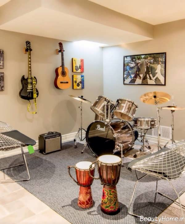 طراحی دکوراسیون اتاق موزیک