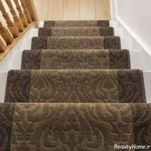 مدل فرش راه پله قهوه ای