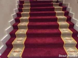 فرش زرشکی و کرم برای راه پله ها