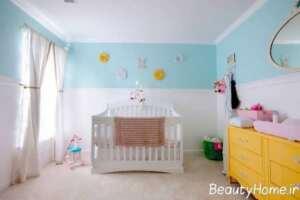 طراحی دکوراسیون اتاق نوزاد آبی