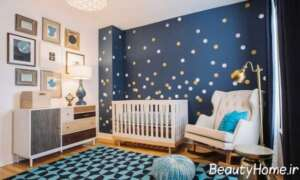 تزیین دیوار اتاق نوزاد به رنگ آبی