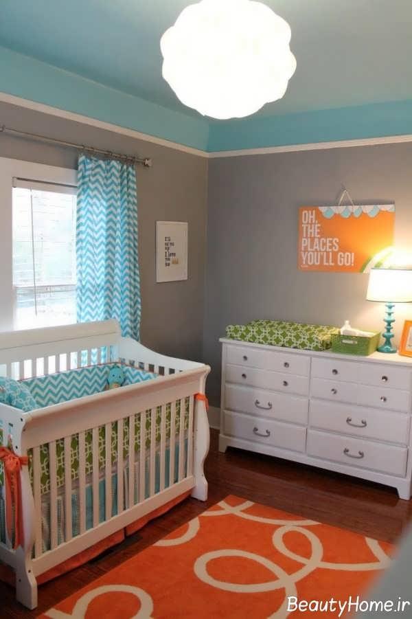 دکوراسیون اتاق نوزاد با رنگ آبی