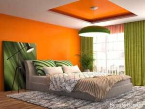 دیزاین اتاق خواب نارنجی و سبز