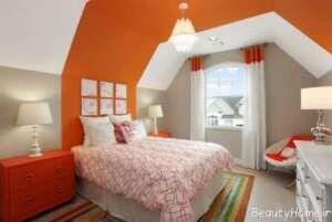 دیزاین داخلی اتاق نارنجی