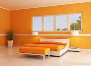 دیزاین داخلی اتاق خواب نارنجی