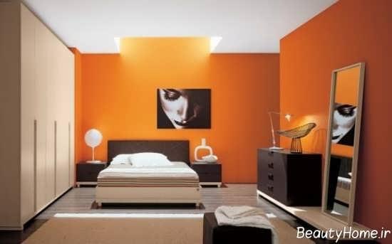 دکوراسیون شیک اتاق خواب نارنجی