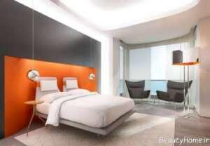 دکوراسیون اتاق خواب نارنجی و طوسی