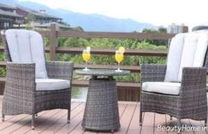 مدل میز و صندلی حصیری برای تراس